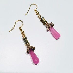 Pink Jade Gemstone Earrings